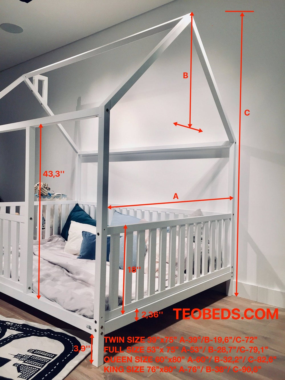 TWIN SIZE BED 39''x75'' with bed rails Teo Beds FREE SHIPPING