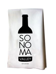Image of Sonoma Valley Wine Bottle Cotton Flour Sack Tea Towel