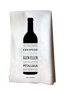 Image of Sonoma Valley Cities Wine Bottle Cotton Flour Sack Tea Towel