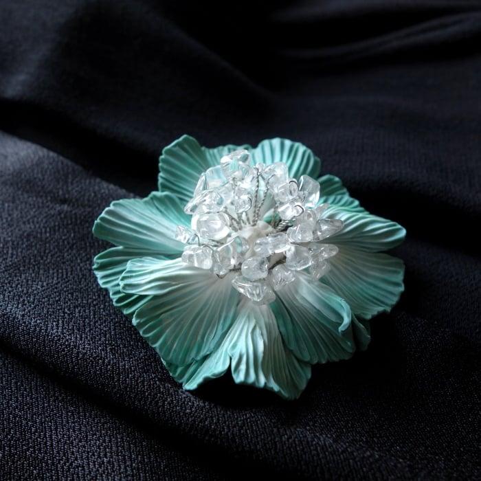 Image of Broche Fleur verte