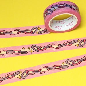 Image of Pastel broken chains Washi Tape - pink & lilac - 15mm by 10m - Japanese masking tape