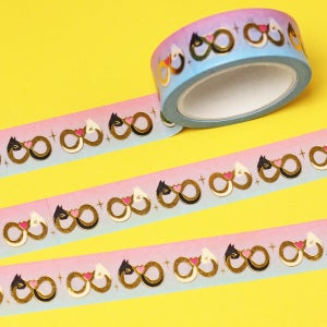 Image of Infinity symbol cats Washi Tape - gold foil - 15mm by 10m - Japanese masking tape
