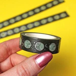 Image of Moon Cat foil Washi Tape - silver foil - BLACK - 15mm by 10m - Japanese masking tape