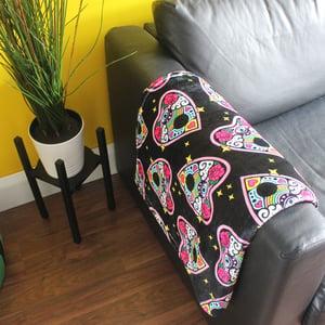 Image of Ouija planchette blanket - luxury super soft fluffy fleece throw - BLACK - printed blanket