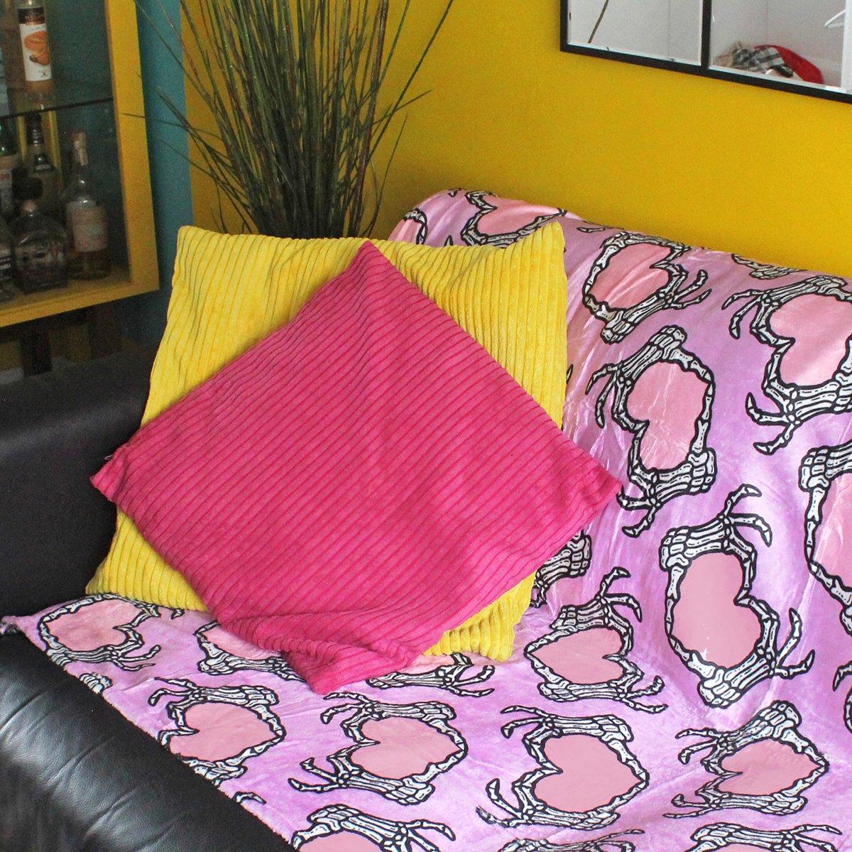 Image of Skeleton hands heart blanket - luxury super soft fluffy fleece throw - LILAC - printed blanket
