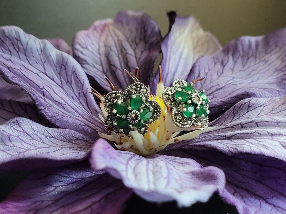 Emerald Marcasite Stud