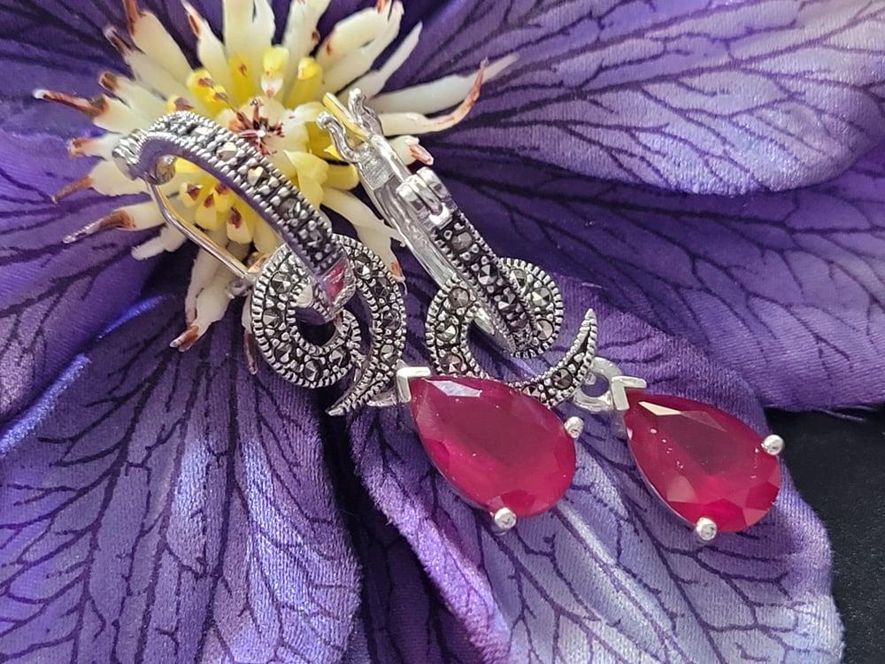 Marcasite Ruby Earrings