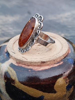 Image of Sterling Silver Ring - Amber