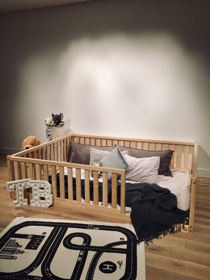 """QUEEN Size montessori bed 60x80"""" with bed rails Teo Beds' FREE SHIPPING"""