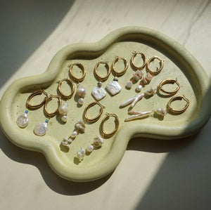 Image of Gold Plated Oval Chunk Hoop (A)