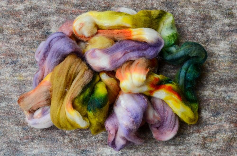 """Image of """"Spring Weeds"""" Hand-dyed 80/20 Merino/Tussah Silk Spinning Fiber - 4 oz."""