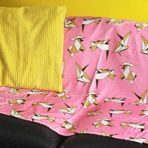 Image of Origami Animals blanket - luxury super soft fluffy fleece throw - PINK - printed blanket