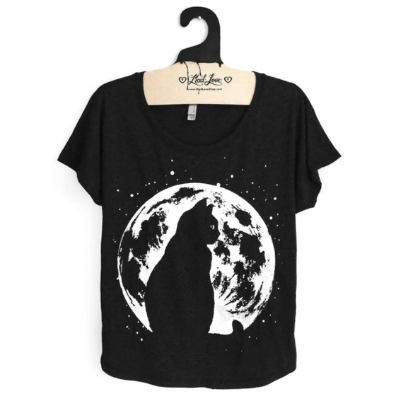 Image of Cat and Moon Tee