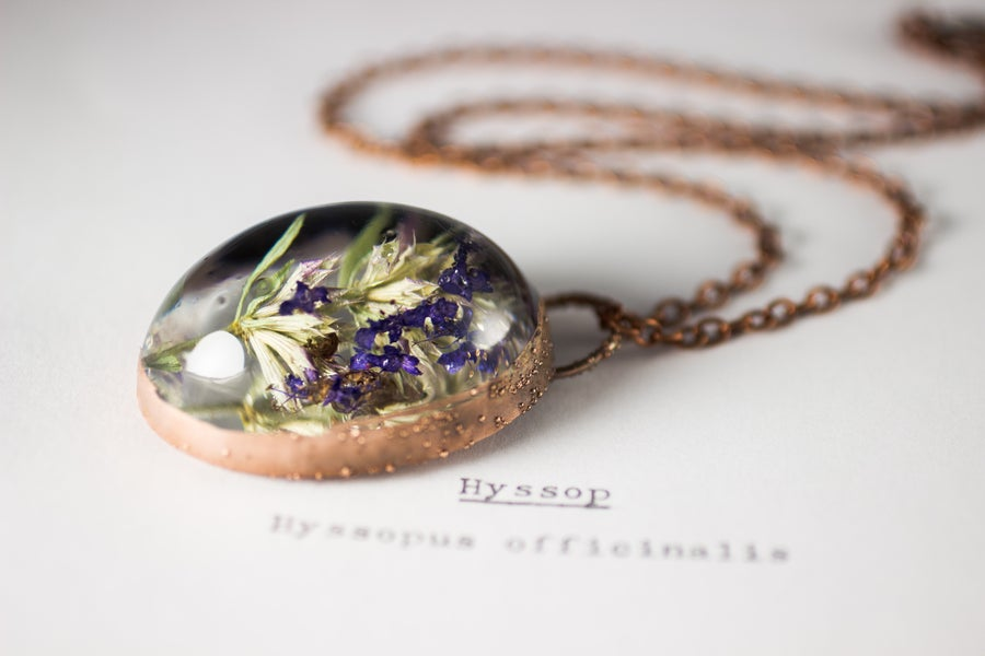 Image of Hyssop (Hyssopus officinalis) - Copper Plated Necklace #1