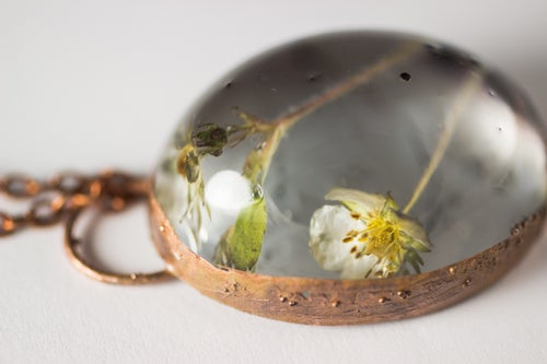 Image of Wild Strawberry (Fragaria virginiana) - Copper Plated Necklace #7