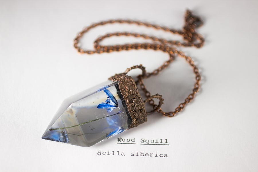 Image of Wood Squill (Scilla siberica) - Small Copper Prism Necklace #5