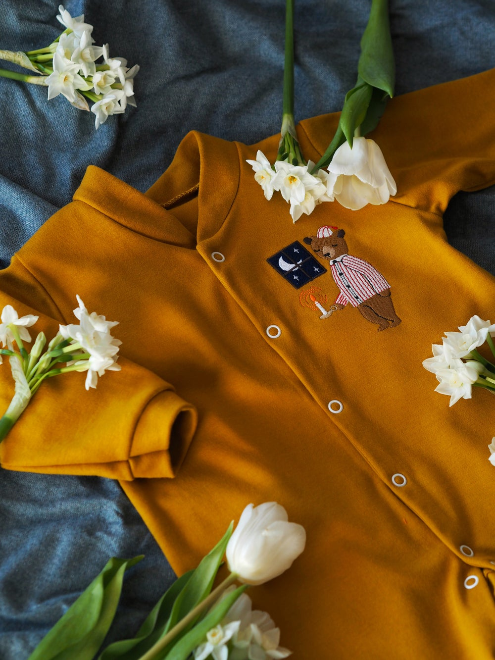 Image of Bedtime Bear - mustard button down sleepsuit