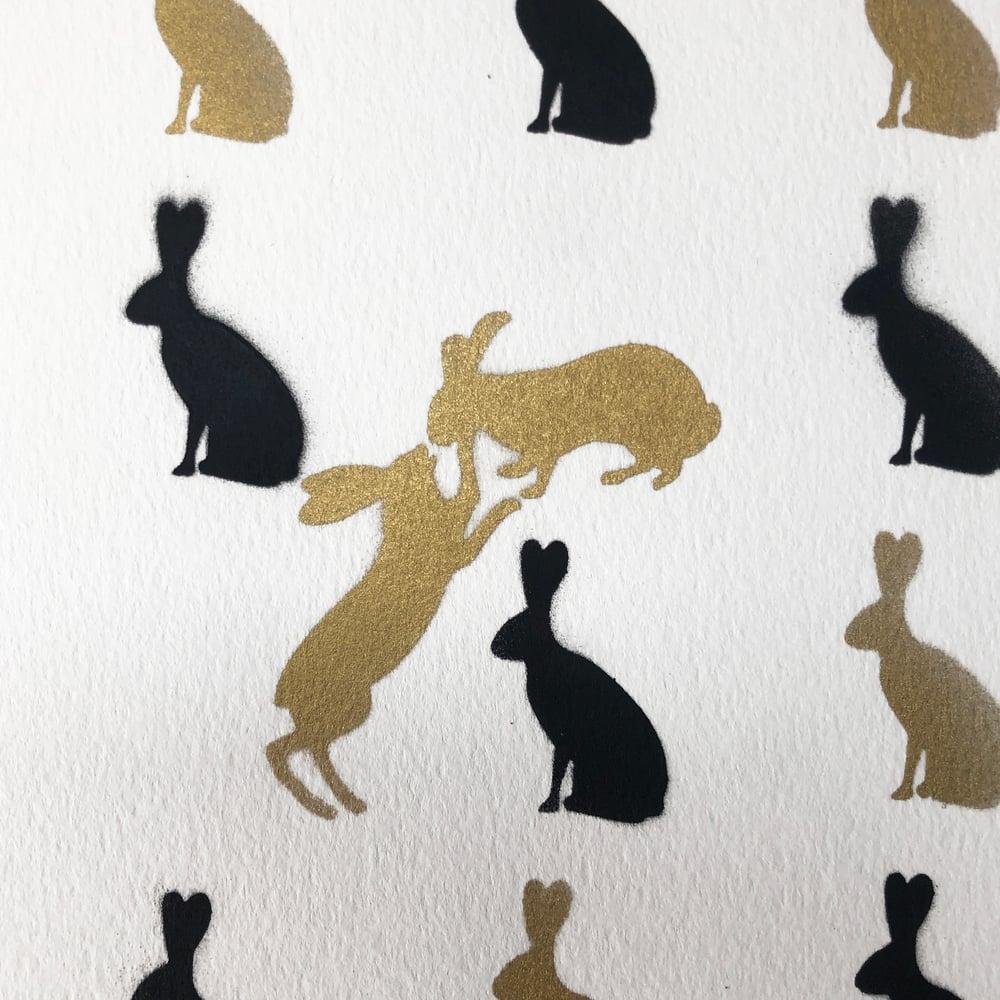 Bunny Love (Gold & Black Stencil)