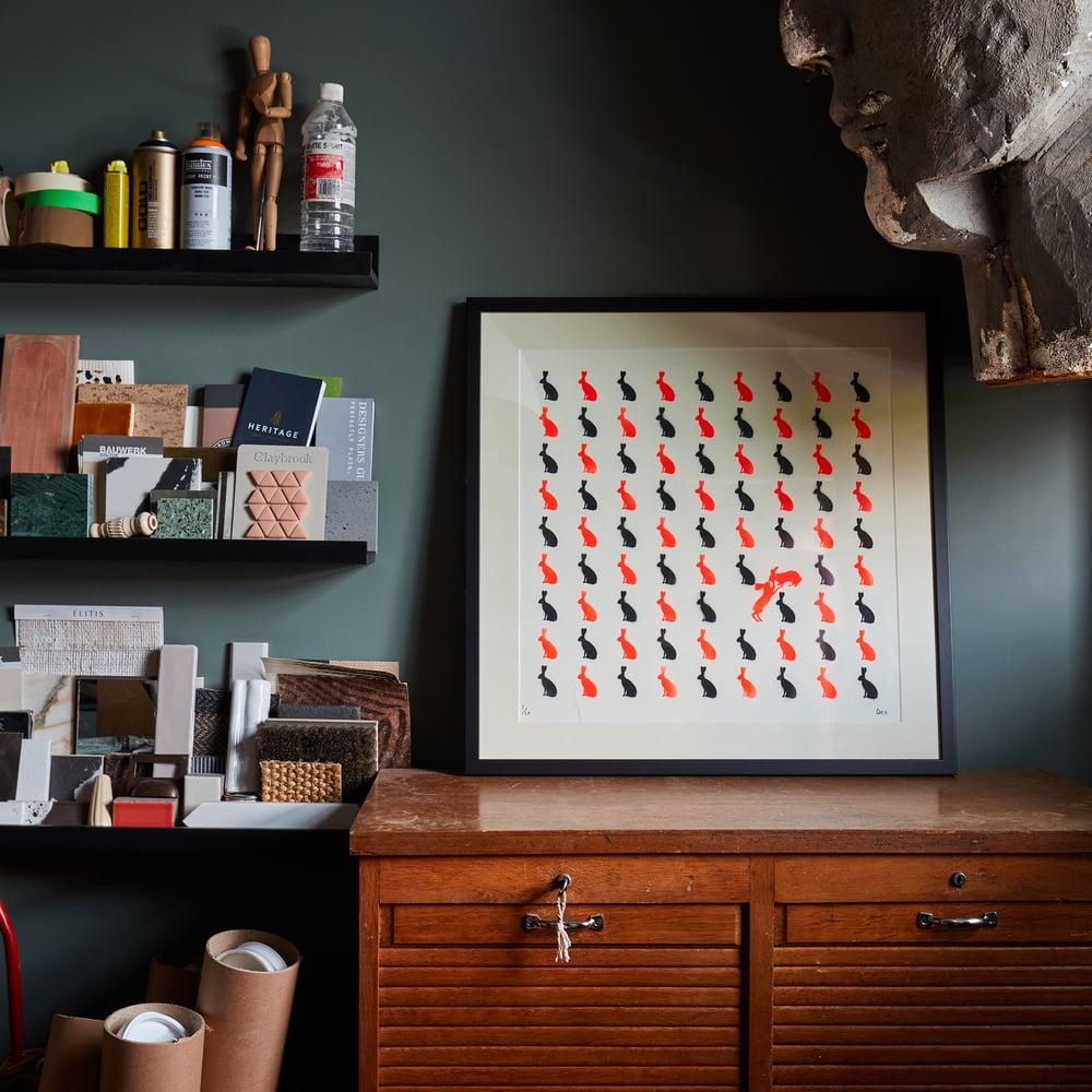Bunny Love (Fluoro Red & Black Stencil)