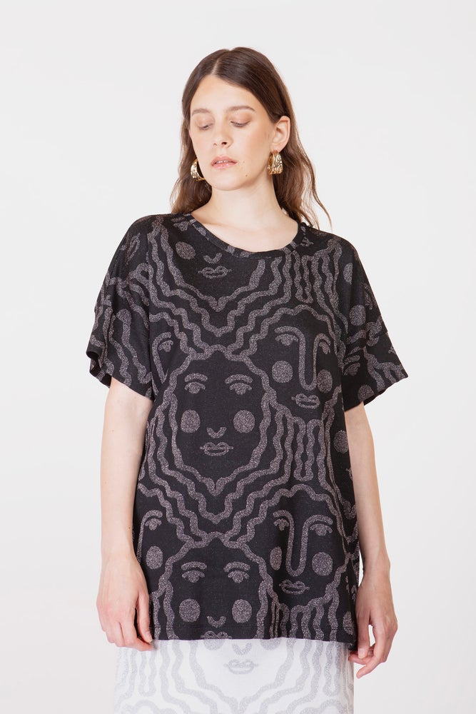 Image of MAXI T-SHIRT MARIE FACE NERO €109 - 30%