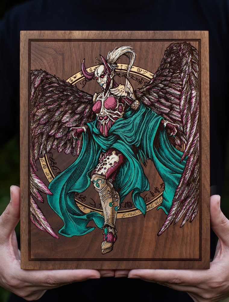 """Image of The """"Fallen Angel of Doom"""" Engraved Painting - Edition of 10"""