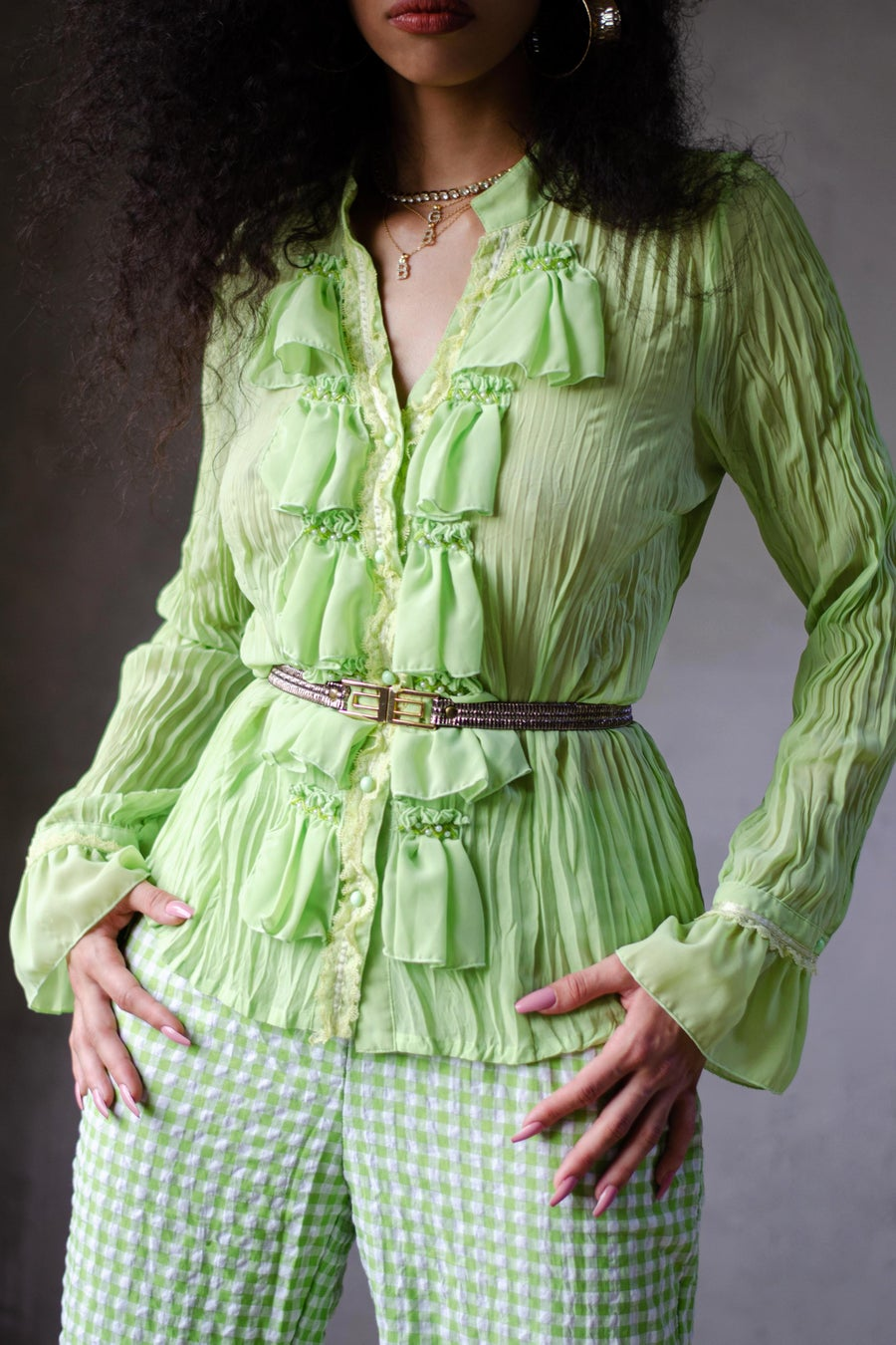 Image of Vintage Dianne Green Ruffle Front Blouse