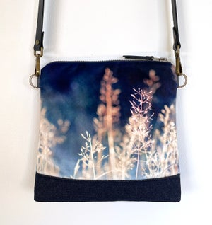 Image of Meadow grasses, velvet cross-body shoulder bag, with gorse flower lining