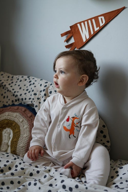 Image of Friendly Fox - Stone Button Down Sleepsuit