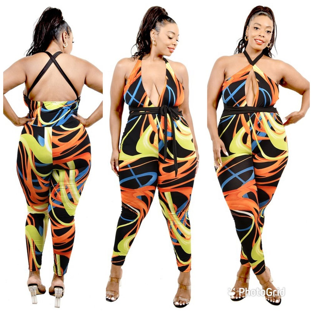 Image of PLUS SIZE MULTI COLOR BRUSHED PATTERN BELTED JUMPSUIT