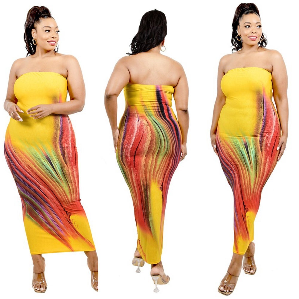 Image of PLUS SIZE YELLOW MULTI OFF SHOULDER DRESS