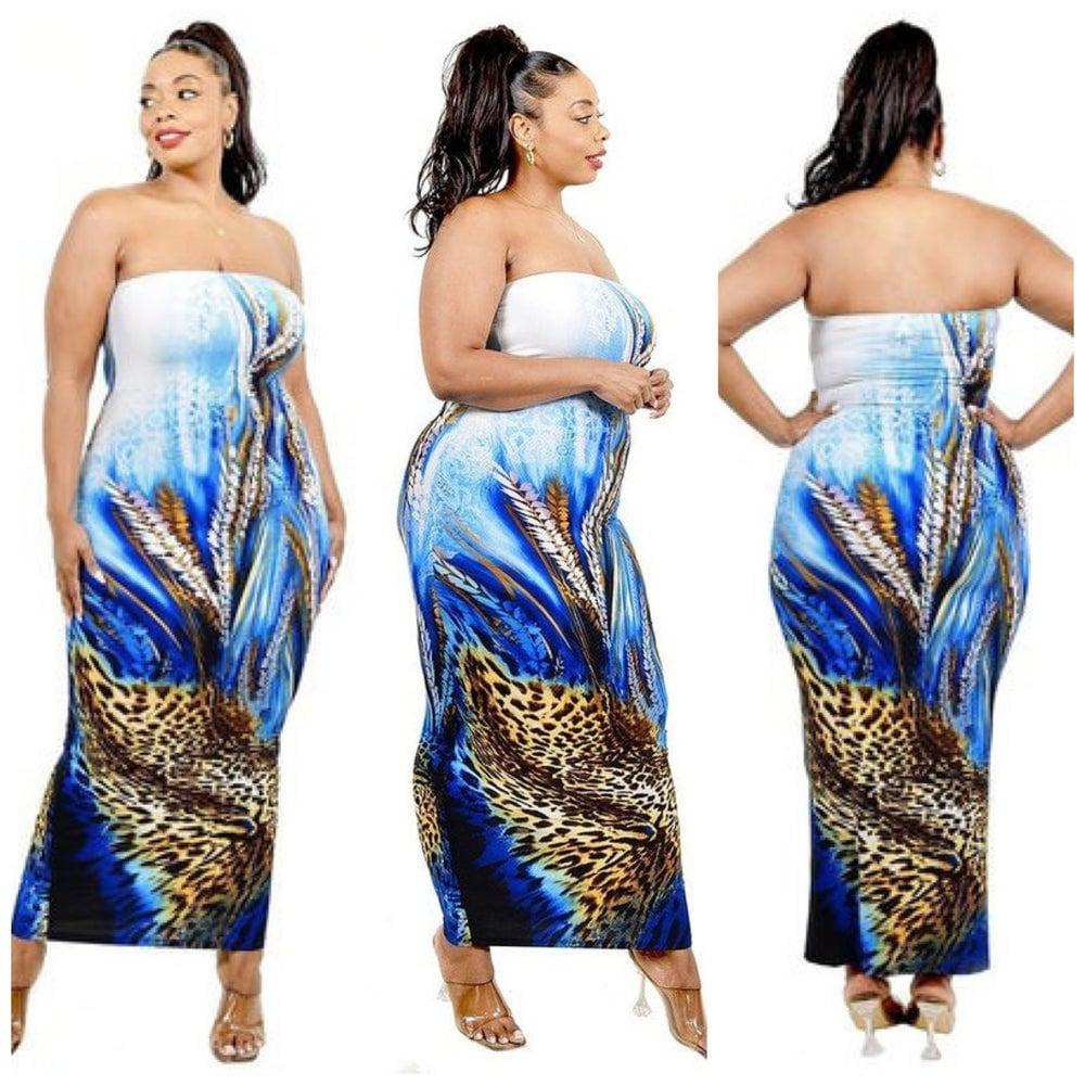 Image of  PLUS SIZE BLUE MULTI OFF SHOULDER DRESS