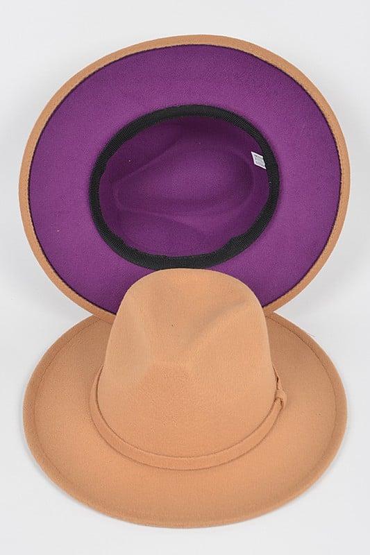 Image of CAMEL/PURPLE WIDE BRIM FLAT TOP HAT