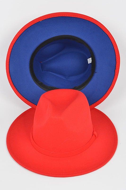Image of ROYAL/RED WIDE BRIM FLAT TOP HAT