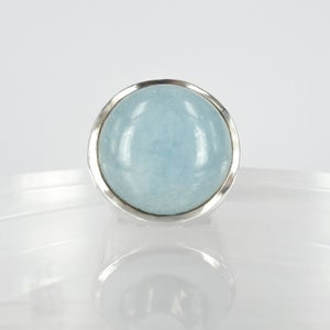 Image of Large sterling silver cabochon aqua cocktail ring. M2254