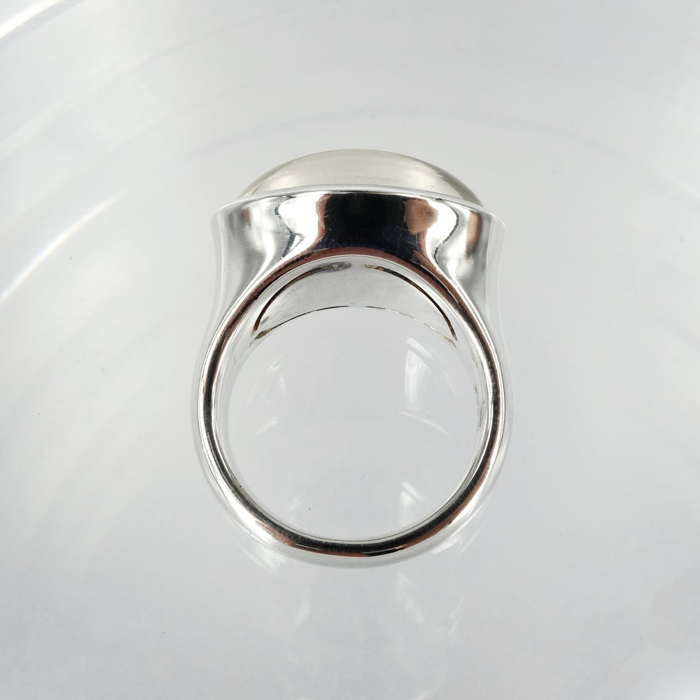 Image of Large sterling silver cabochon clear quartz cocktail ring. M2972