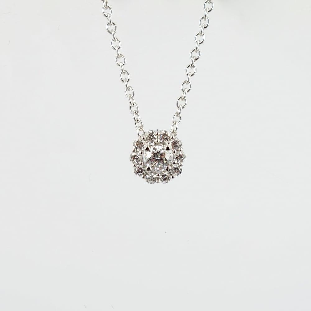 Image of 14ct white gold diamond cluster slider pendant.  PJ5832
