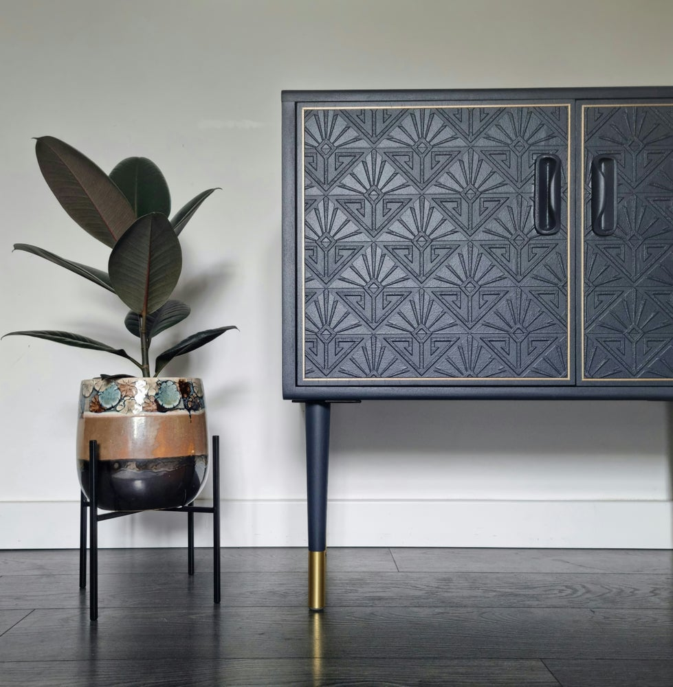 Image of •RESTYLED TO ORDER• G PLAN FRESCO COCKTAIL CABINET WITH DECO ANAGLYPTA