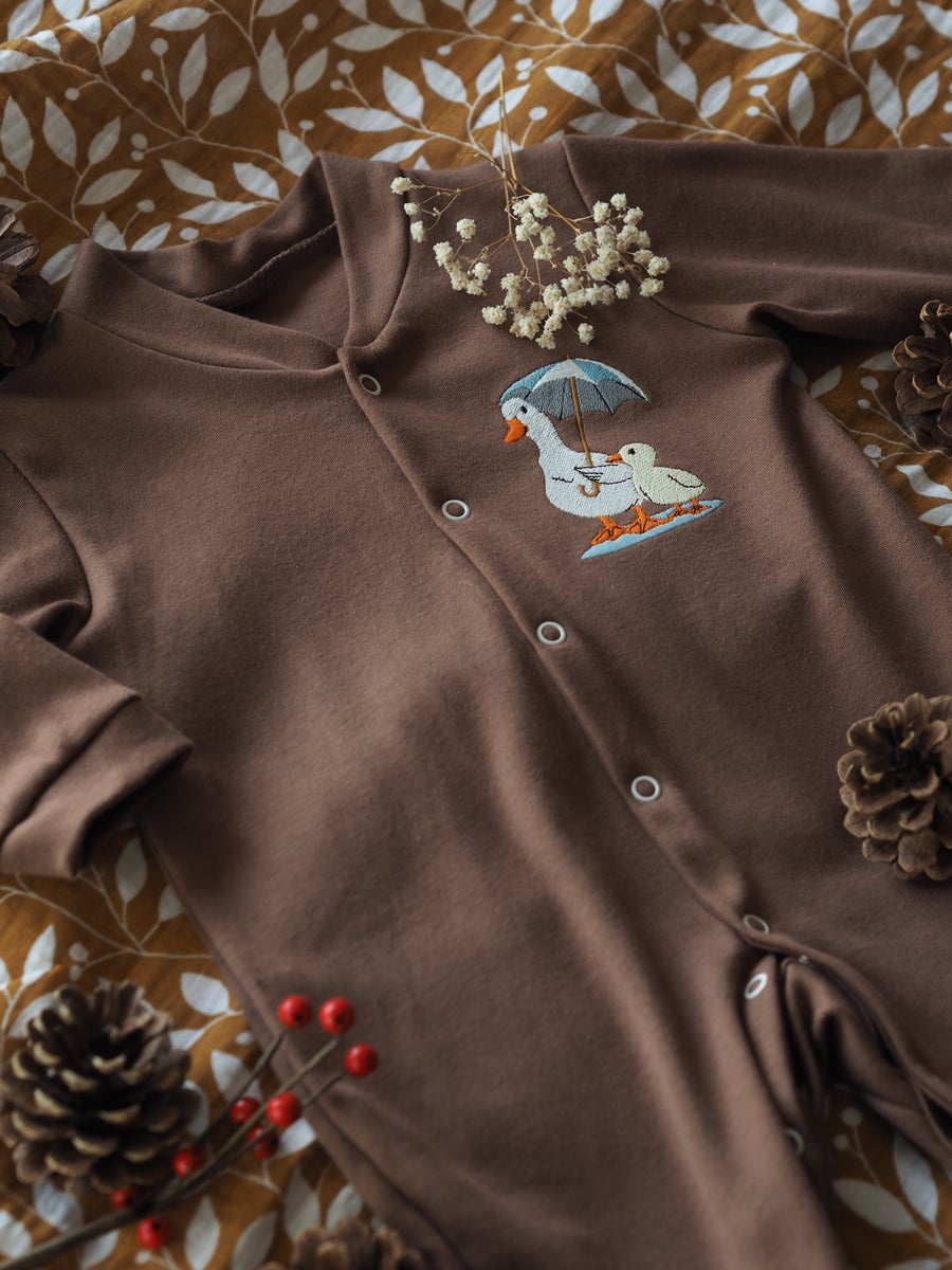 Image of Mummy & Me - Cinnamon Button Down Sleepsuit