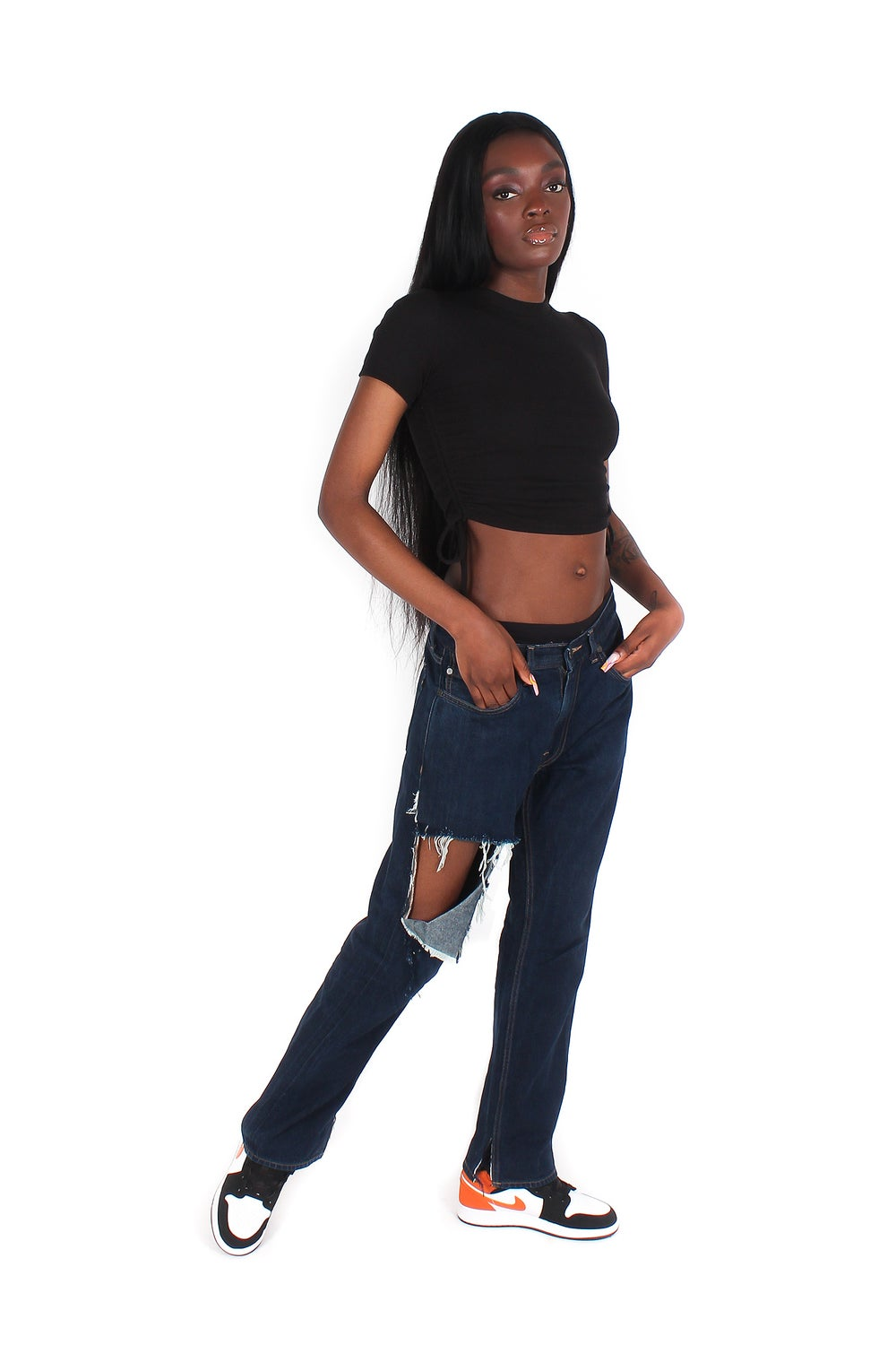 Image of 'OBSCURE' SHREDDED JEANS