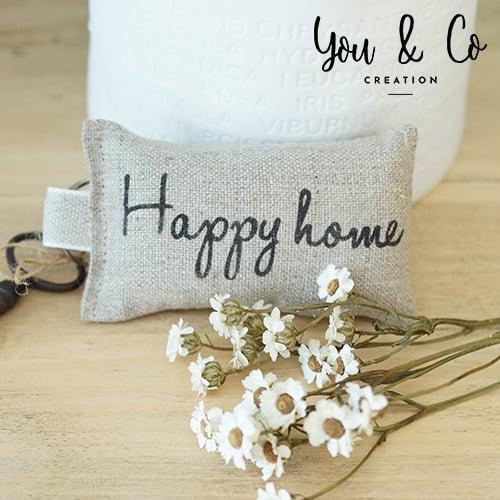 "Image of Porte-clés lin naturel ""Happy Home"""