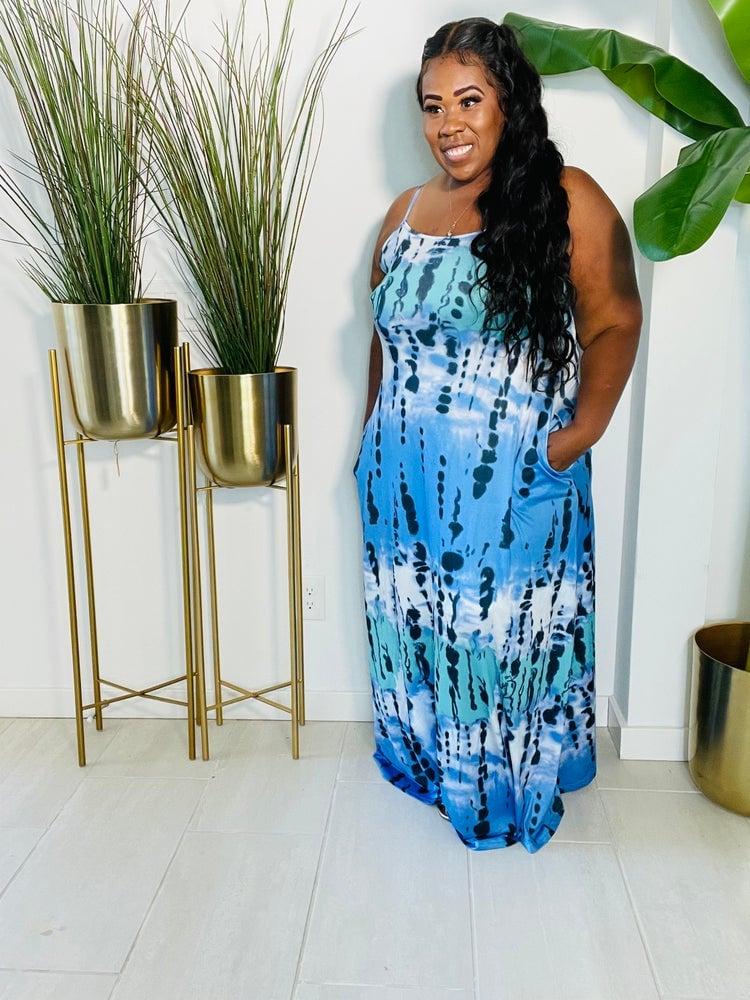 Image of ROYAL BLUE PLUS SIZE TYE DYE MAXI DRESS DRESS