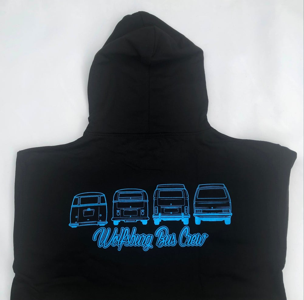 Image of WBC  Black (2021 Design)  fully zipped Hoodie with a Electric Blue print
