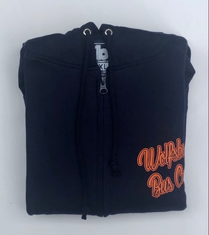 Image of WBC French Navy (2021 Design) French Navy fully zipped Hoodie with Orange  print
