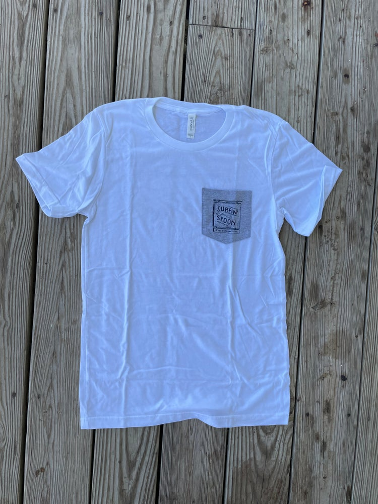 Image of Classic Pocket Tee - White and Blue
