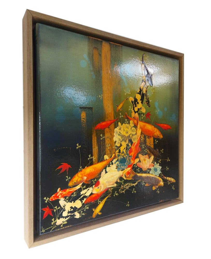 Image of Original Canvas - Koi with Blossoms and Lilies - 50cm x 50cm