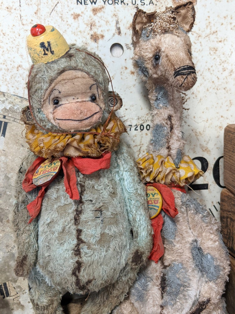 """Image of NEW LARGER SIZE - 8""""  Schoenhut Old TOy Circus BLUE/GRAY  Munki by Whendi's Bears"""