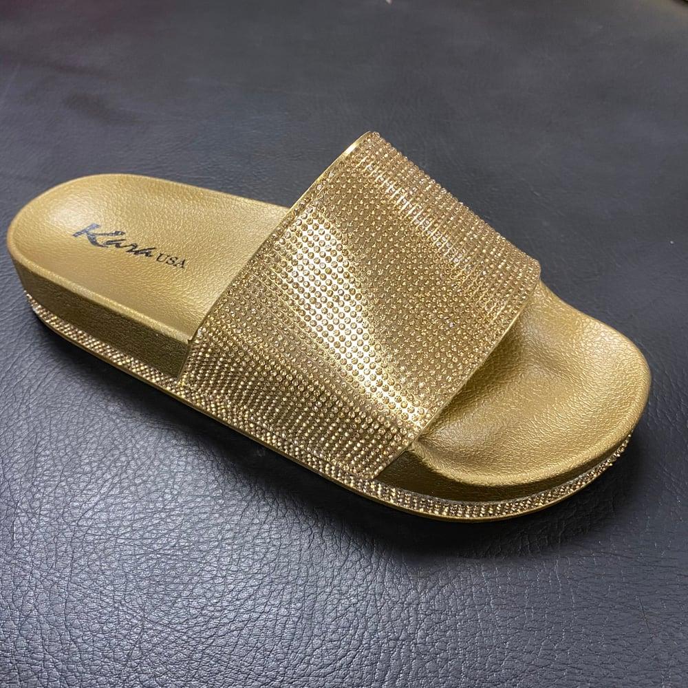 "Image of  A22 DARK GOLD ""BLINGED OUT"" SLIDES"