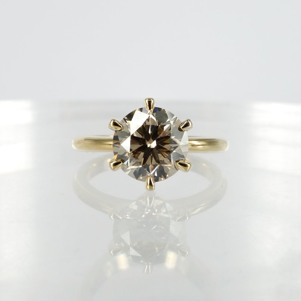 Image of 18ct yellow gold champagne diamond solitaire engagement ring.PJ5797