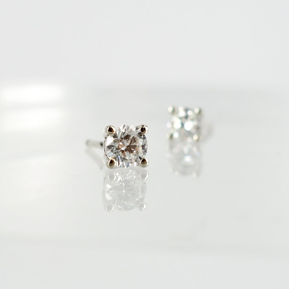 Image of 14ct white gold diamond studs set with 2 = .40ct FSI1. PJ5805