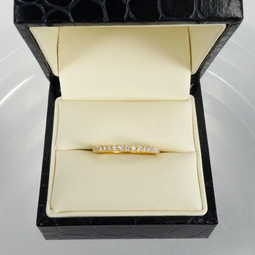 Image of 18ct yellow gold diamond set wedding band. PJ5814